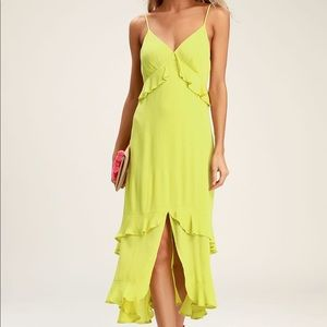 LIME GREEN RUFFLED MIDI DRESS